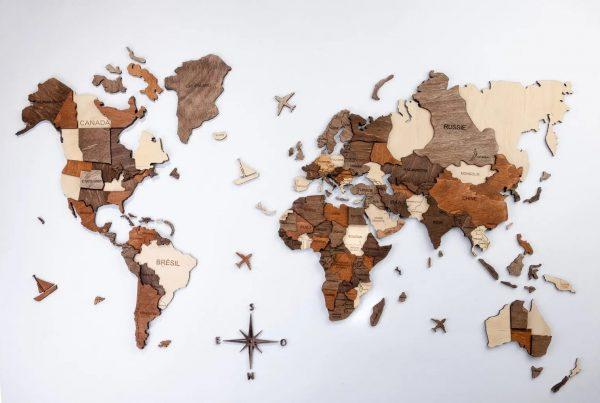 3D Mapa světa ze dřeva